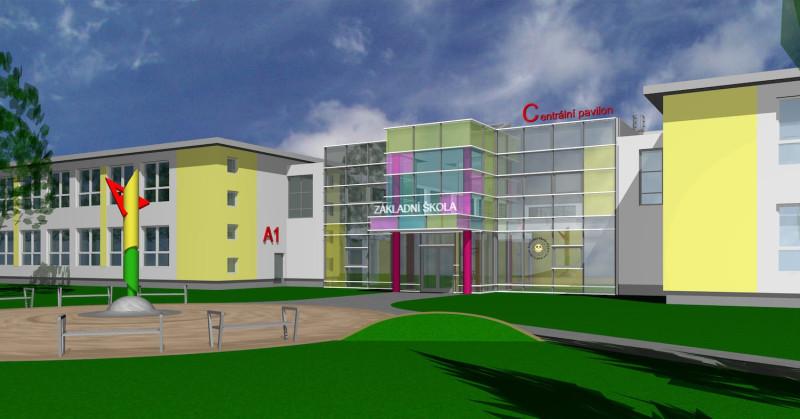 Výstavba nového centrálního pavilonu základní školy v Opatovicích nad Labem